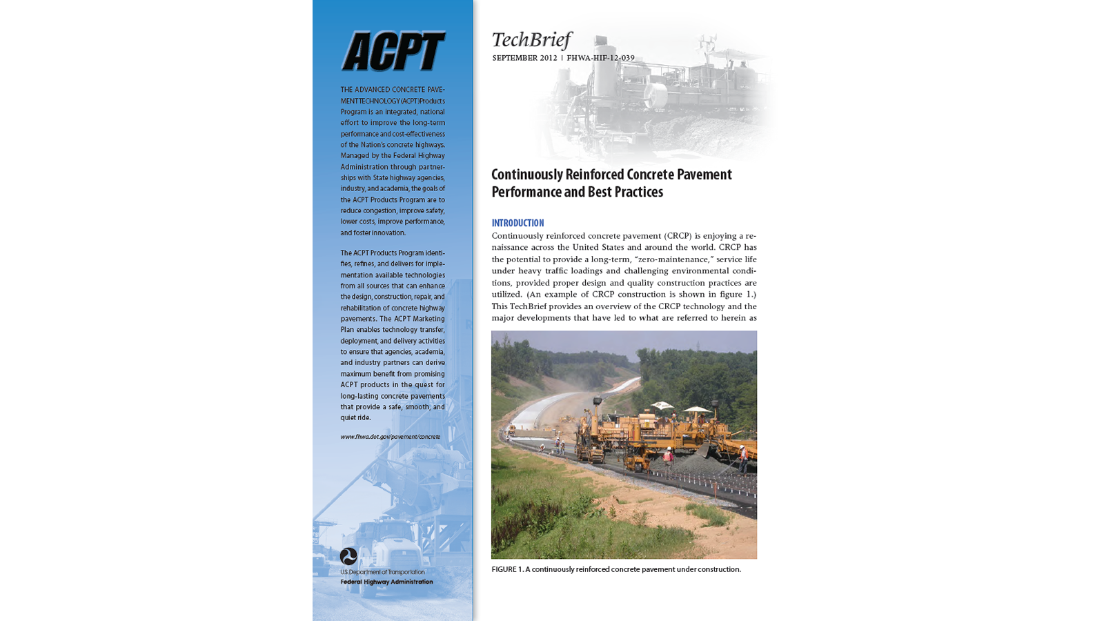 CRCP Performance and Best Practices (FHWA-HIF-12-039)