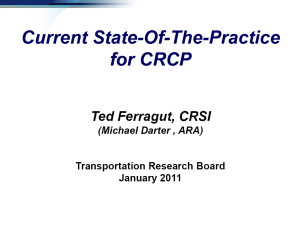 TRB 2011 - State of the Practice for CRCP