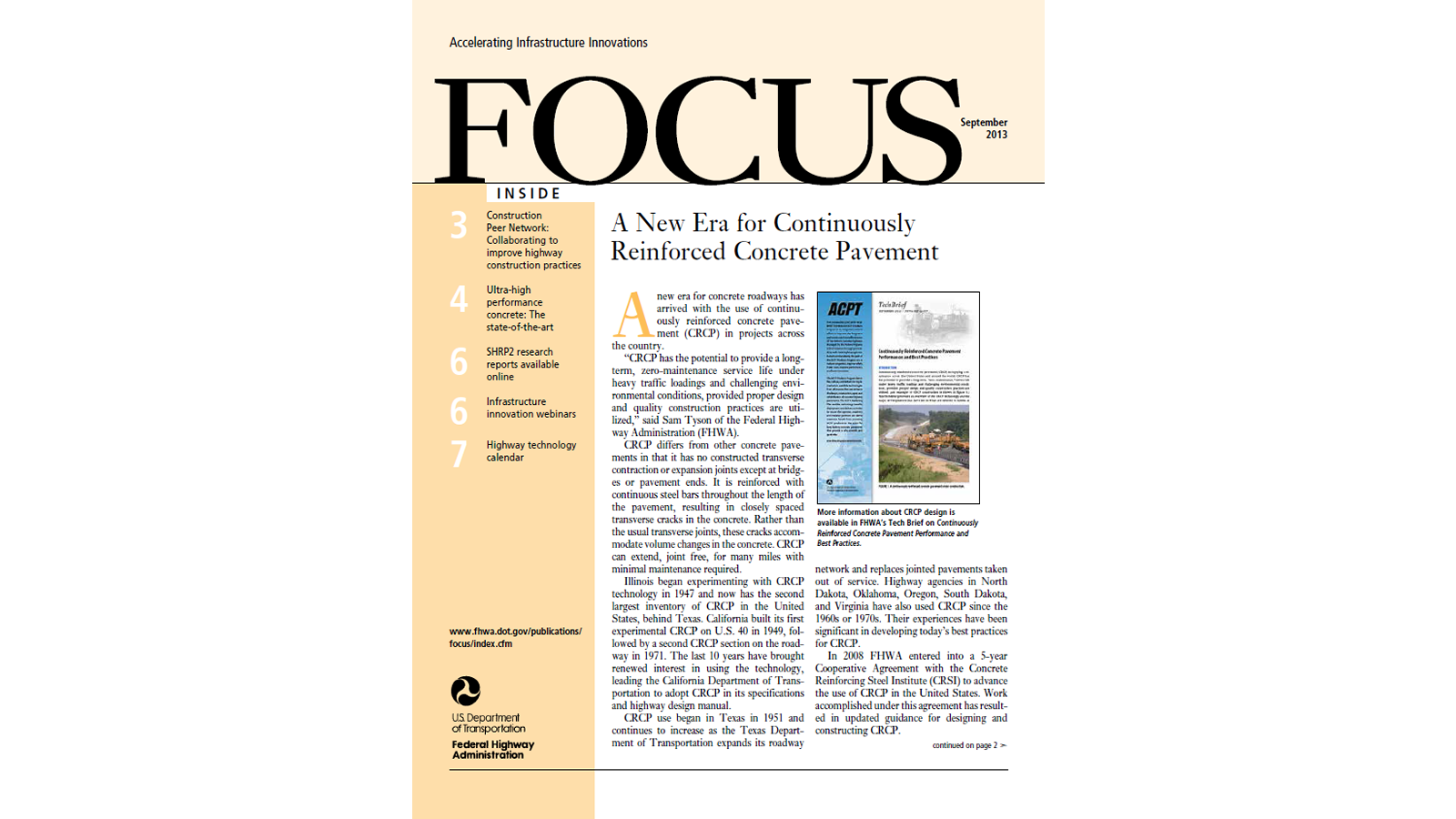 A New Era for Continuously Reinforced Concrete Pavement from September 2013 Issue of FHWA's FOCUS (FHWA-HRT-13-017)