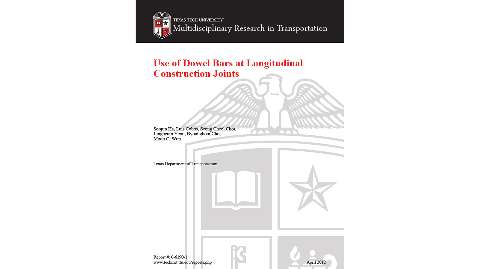 Use of Dowel Bars at Longitudinal Construction Joints (FHWA/TX -11-0-6190-1)