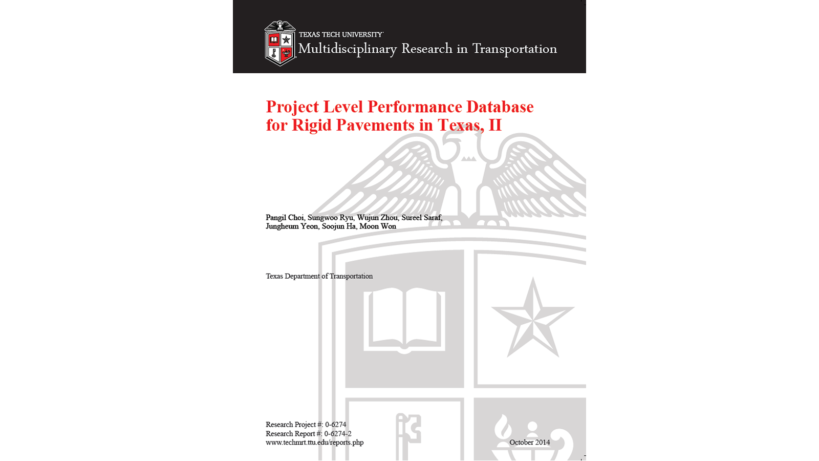Project Level Performance Database for Rigid Pavements in Texas, II (FHWA/TX-14-0-6274-2)