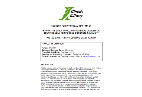 Innovative Structural and Material Design for CRCP (IL Tollway RFP #14-01)