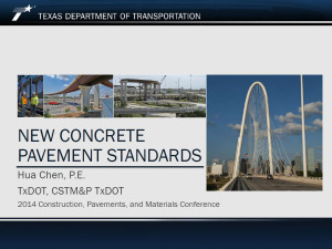 TxDOT New Concrete Pavement Standards