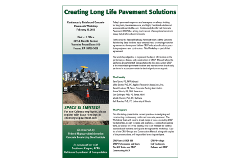 CRCP Workshop – Creating Long Life Pavement Solutions