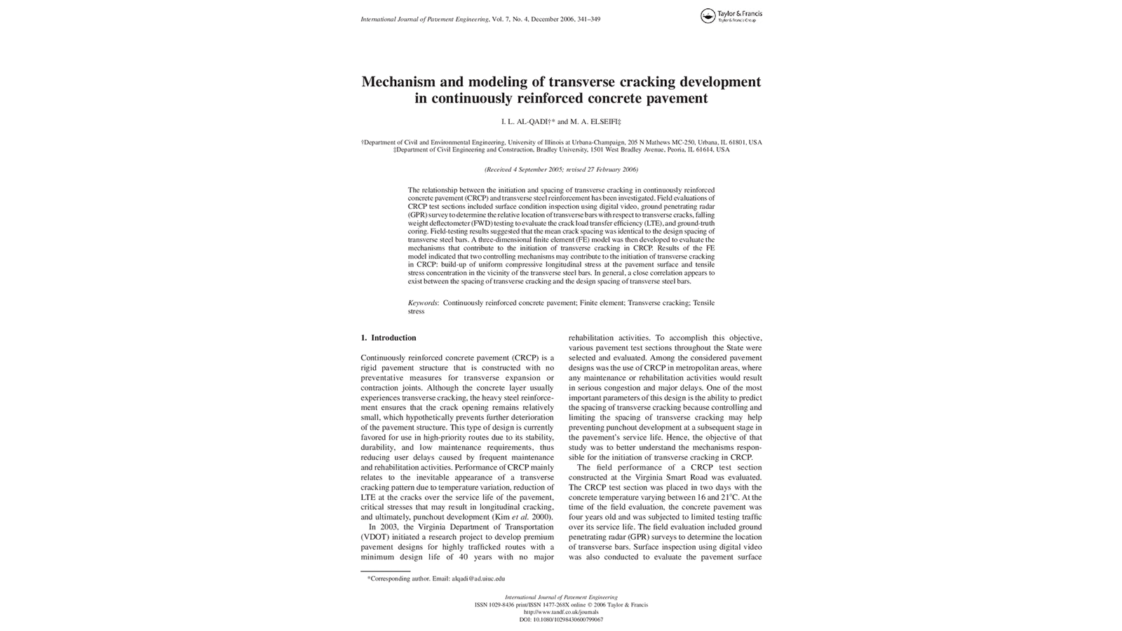 Mechanism and Modeling of Transverse Cracking Development in Continuously Reinforced Concrete Pavement